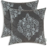 CaliTime Pack of 2 Cozy Throw Pillow Cases Covers for Couch Bed Sofa Manual Hand Painted Print Vintage Mandala Floral 20 X 20 Inches Navy Blue