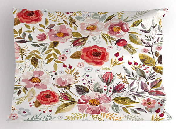 "Lunarable Vintage Pillow Sham, Floral Theme Hand Drawn Romantic Flowers and Leaves Illustration, Decorative Standard Size Printed Pillowcase, 26"" X 20"", Pink Cream"