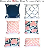 "Hofdeco Spring Indoor Outdoor Pillow Cover ONLY, Water Resistant for Patio Lounge Sofa, Navy Pink Greek Key Maze Floral, 18""x18"" 20""x20"" 12""x20"", Set of 3"