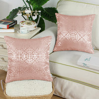 CaliTime Pack of 2 Throw Pillow Covers Cases for Couch Sofa Home Decor Vintage Shining & Dull Contrast Cross Flowers Trellis Geometric Figure 18 X 18 Inches Dusty Pink