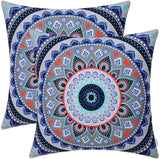 CaliTime Pack of 2 Soft Canvas Throw Pillow Covers Cases for Couch Sofa Home Decor Retro Mandala Pattern Compass Medallion 18 X 18 Inches