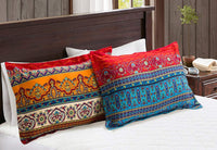 Omelas 2 Pack Bohemian Pillowcase Standard Queen Size for Hair and Skin Boho Colorful Floral Striped Pillow Shams with Evenlop Closure Super Soft Breathable 120gsm Brushed Microfiber