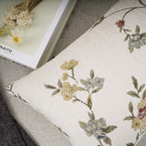 YOUR SMILE Classical Embroidery Jacquard Farmhouse Oblong Rectangle Chenille Beige Floral Pattern Decorative Throw Pillow Case,12x20 inch