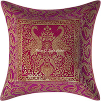 Stylo Culture Ethnic Living Room Brocade Magenta and Gold Throw Pillow Covers 16x16 Jacquard Weave Banarsi Decorative Pillow Case Peacock Floral 40x40 cm Cushion Covers (1 Pc)