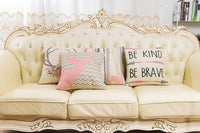 "Fjfz Cotton Linen Home Decorative Quote Words Throw Pillow Case Cushion Cover for Sofa Couch Tribal Girl Nursery Art Decor, Be Kind Be Brave Decoration, 3 Arrows Pink and Grey, 18"" x 18"""