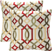 YUKORE Pack of 2 SimpleDecor Jacquard Geometric Links Accent Decorative Throw Pillow Covers Cushion Case Multicolor 18X18 Inch Red
