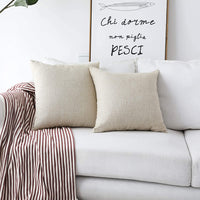 Home Brilliant 2 Pack Burlap Decorative Pillow Covers Lined Linen Cushion Sham for Living Room, 18x18 inches, Light Linen