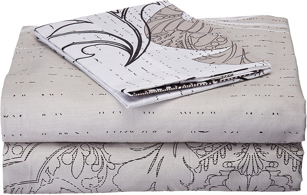 DaDa Bedding Luxury Fitted Sheet - Floral Leaves Cotton w/ Pillow Case Set - Neutral White Grey Damask - Twin - 2-Pieces
