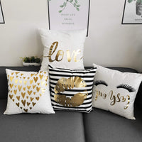YNester 4Pcs Décor Throw Pillow Cover Super Soft Gold Foil Decorative Cushion Cover 18 x 18 inches Eyelashes Lips Love Printed Pillow Case for Sofa Chair Car Bed (White)