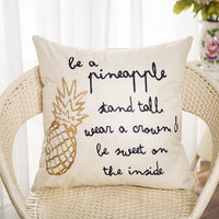 Fahrendom Be a Pineapple Stand Tall Wear a Crown Inspirational Quote Décor Spring Summer Farmhouse Decoration Cotton Linen Home Decorative Throw Pillow Case Cushion Cover for Sofa Couch 18 x 18 in
