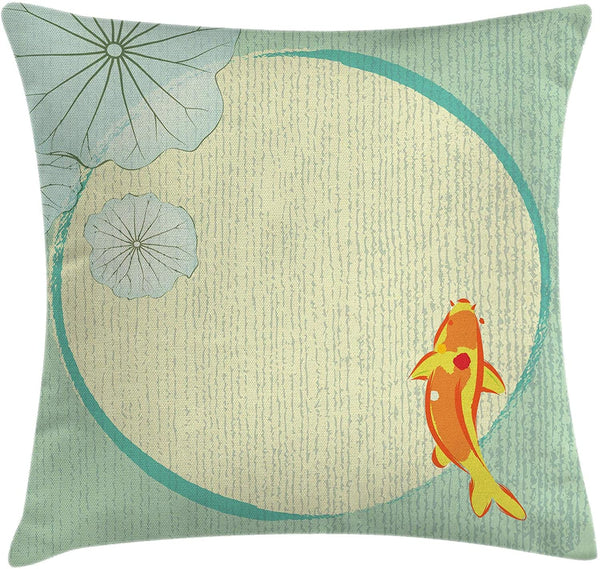 "Ambesonne Koi Throw Pillow Cushion Cover, Cartoon Chinese Fish Koi in Lily Pond Oriental Floral Eastern Printrtwork, Decorative Square Accent Pillow Case, 20"" X 20"", Pale Seafoam"