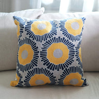Hodeco Embroidery Throw Pillow Covers 18x18 Inch Decorative Floor Pillow Cover for Couch Bed Room Chair 100% Cotton Cushion Cover Pillow Case 45x45cm Yellow Sunflowers Embroidered Blue, 1 Piece