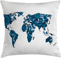 "Ambesonne Floral World Map Throw Pillow Cushion Cover, Flourish Map in Blue Tones Earth Continents with Ornate Eco Plants, Decorative Square Accent Pillow Case, 20"" X 20"", Blue"