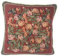 "DaDa Bedding Throw Pillow Covers - Set of Two Field of Roses Floral - Victorian Elegant Square Colorful Red Decor - 2-Pieces - 18"" x 18"""