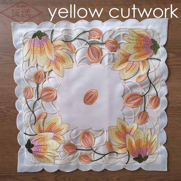 Free Shipping 1Pcs Luxury Pink/Yellow Colour Tulip Pattern 43x43cm Square Embroidered Handmade Cutwork Satin Pillow Case
