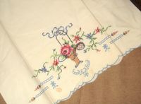 NWOP Vintage NEW Pair Standard Embroidered & Cutwork Pillowcases Floral NWT