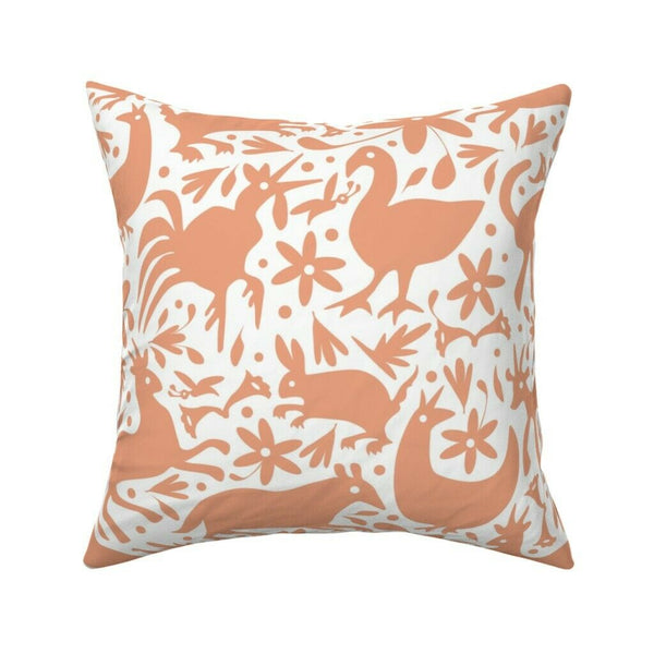 Orange Pink Otomi Nature Throw Pillow Cover w Optional Insert by Roostery
