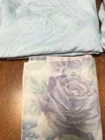 vtg Thomaston Full Sz Sheet Set Microfiber Polyester Blue w/2 floral pillow case