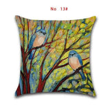 45cm*45cm Oil painting trees and birds design linen/cotton throw pillow covers