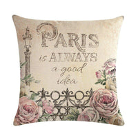 45cm*45cm Retro Eiffel Tower and roses pattern linen/cotton throw pillow covers