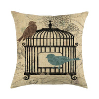 45cm*45cm Retro Bird Cages and Birds linen/cotton throw pillow covers