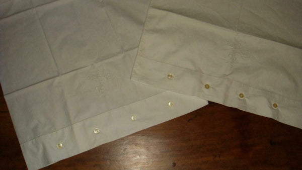 Pair Antique Vintage White Pillowcases Button Cuffs White Floral Embroidery