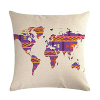 45cm*45cm Land map of the world pattern linen/cotton throw pillow covers