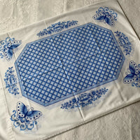 Vintage Full Flat Sheet & PAIR Pillowcases Delft Blue White Floral Butterflies