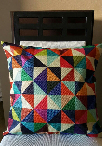 "Beautiful Boho Fall Colors Patchwork Look Linen Throw Pillow Cover 18"" US SLR"