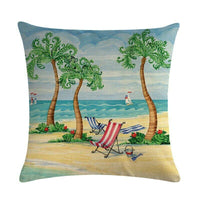 45cm*45cm Coconut trees on the beach design linen/cotton throw pillow covers