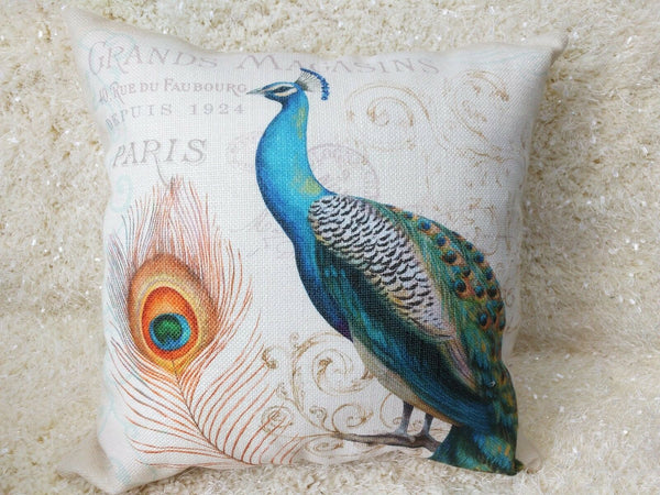 Elegant Decorative Linen Peacock Pillow Cover double sides Throw Pillow Cushion