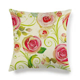 45cm*45cm full design of watercolor rosees linen/cotton throw pillow covers