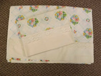 Vtg Unused? Martex Victorian Floral Bouquets Percale Twin Bed Sheet & Pillowcase