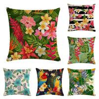 45cm*45cm Parrots and bright flowers design linen/cotton throw pillow covers