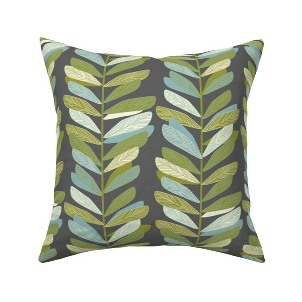 Mid Century Mod Leaves Branches Throw Pillow Cover w Optional Insert by Roostery