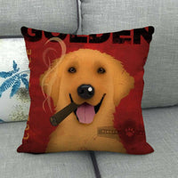 45cm*45cm Golden dog design linen/cotton throw pillow covers