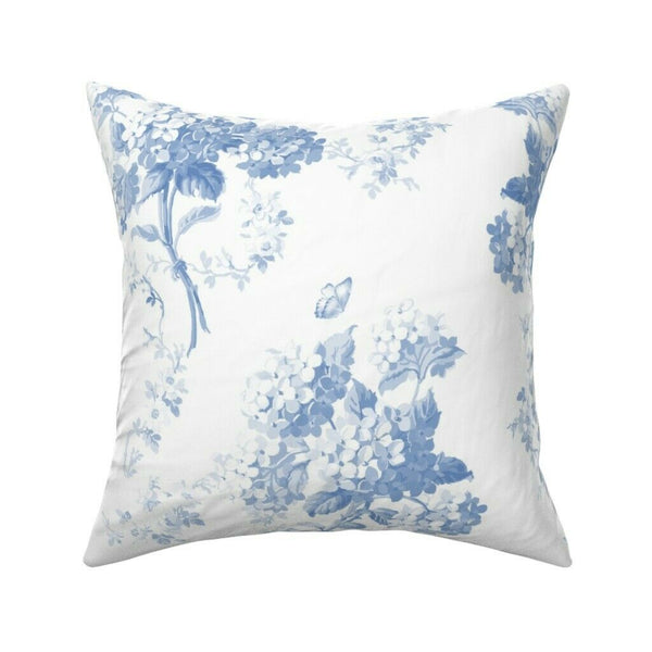 Blue And White Blue Flowers Throw Pillow Cover w Optional Insert by Roostery