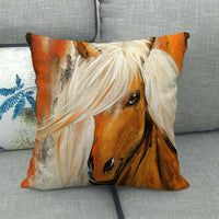 45cm*45cm handsome horse design linen/cotton throw pillow covers