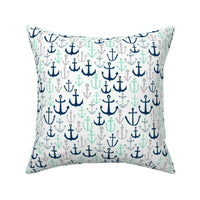 Anchors // Mint Navy And Grey Throw Pillow Cover w Optional Insert by Roostery
