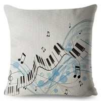 Musical Note Sheet Music Print Throw Pillow Cushion Covers Linen Pillows Cases