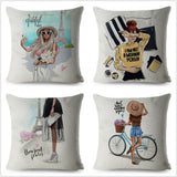 Fashion Sexy Super Mom Baby Print Cushion Cover Beige Linen Pillow Throw Pillows