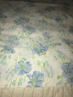 Vintage Sears Blue Floral Single Standard Pillowcase Flowers Bedding Percale