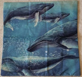 "Beautiful Ocean Whales Linen Throw Pillow Cover 18"" US Seller"