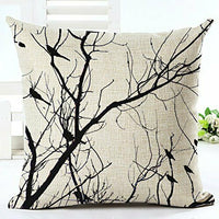 Large Tree And many Birds Cotton Linen Throw Pillow Case Cushion Cover