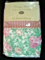 Vtg PINK Striped Roses Floral Standard Shabby French Country Pillowcases NIP