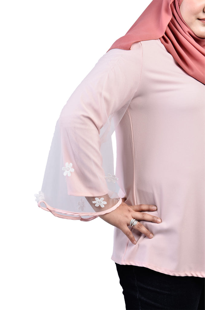 Lace Lining Sleeve Top