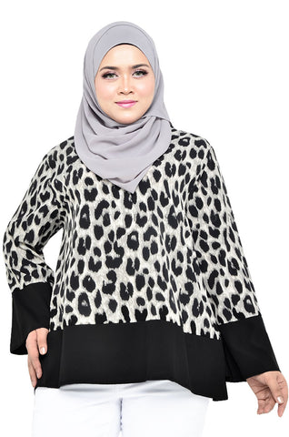 Notched Leopard Blouse