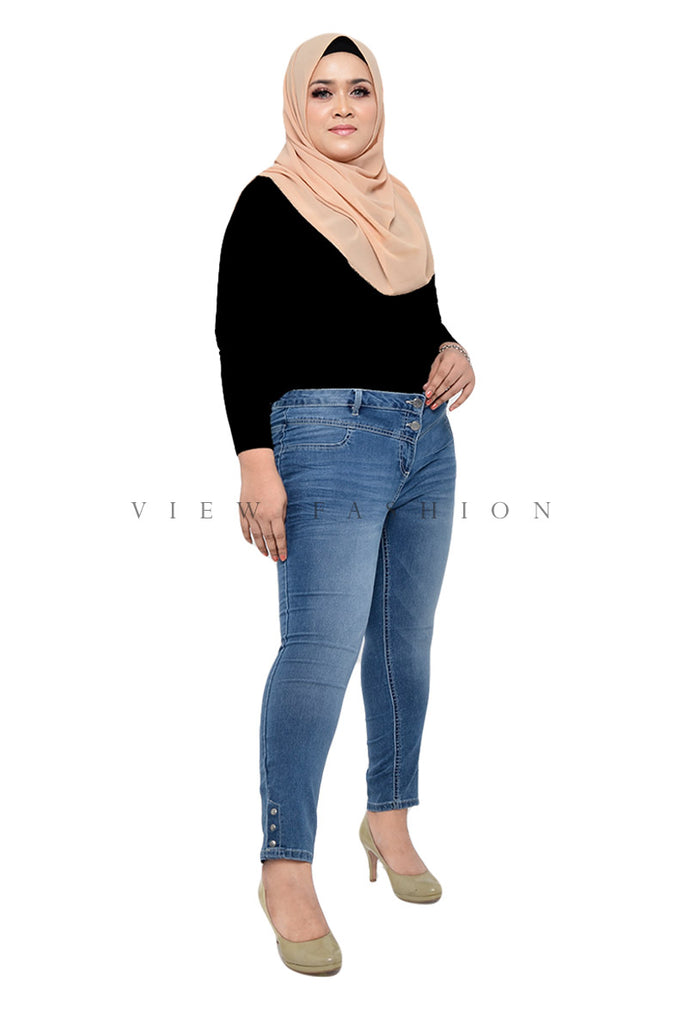Button Stretch Skinny Jeans