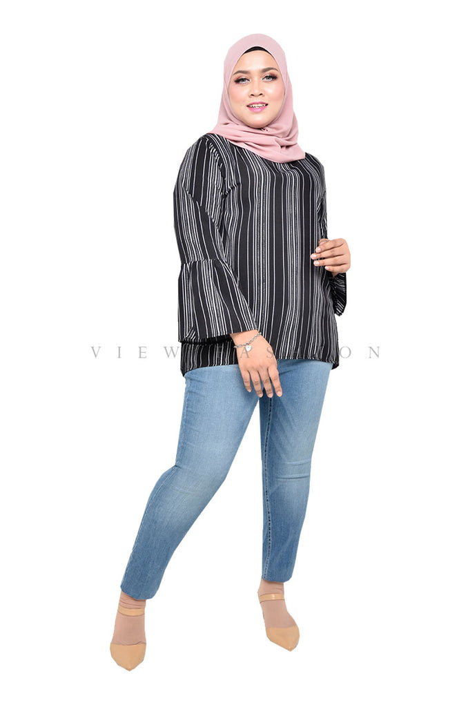 Stripe Flutter Sleeve Top