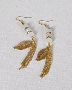 Metallic Leaf Accent Tassel Style Fishhook Drop Earrings - FitBeautyTrends